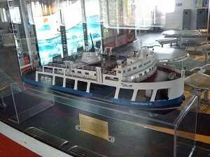 This is a model of the ferry boat we were on all day.