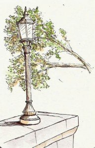 "Lamp on Plains of Abraham. Uniball Signo UM-151 ""brown-black"" .28"