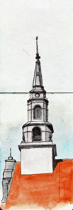 Moleskine watercolor (3x5), Pilot G-TEC-C3 pen