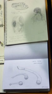 Celine (top) and Pierre's (bottom) sketches