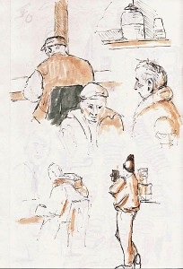 Some quickies at the coffee shop.  Click to enlarge.