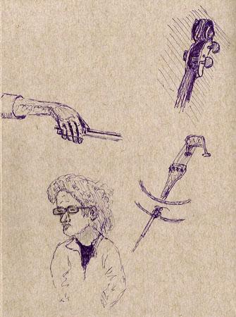 Prismacolor 005, purple, Strathmore 'toned gray' sketchbook