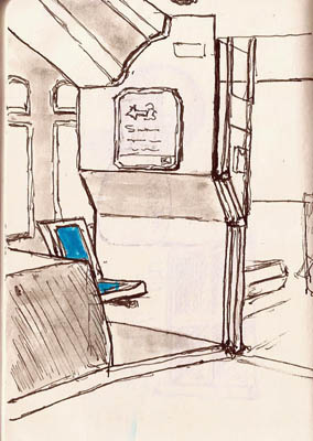 Got on a bus at a turnaround point.  Was the only one on the bus, so I sketched the area behind the driver.  Pilot Prera.