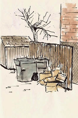 A garbage scene.  Color added before scan.  Hero 578.
