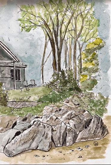 Rocks at St. Vallier (Stillman & BIrn Alpha 9x6, Uniball UM-151,.38 pen