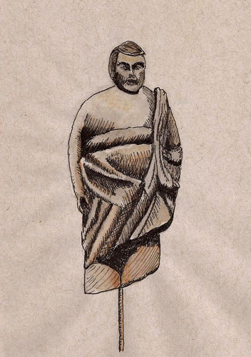 Little theatre guy (Strathmore toned gray paper, De Atramentis Document Black ink)