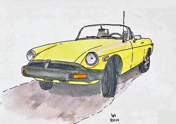 yellow MGB