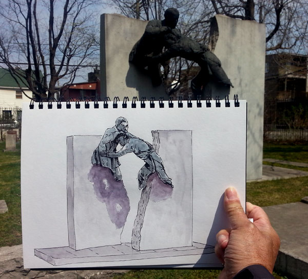 My Sketch with the sculpture in the background.  Stillman & Birn Beta, Namiki Falcon, De Atramentis Document Black