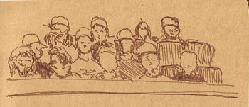 A crowd watching a baseball game, sketched while I was watching a baseball game.