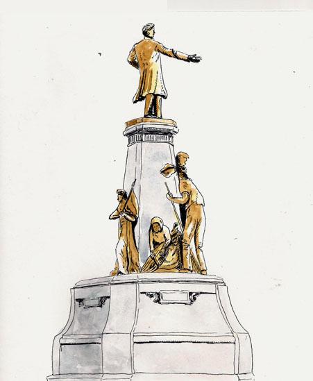 Statues near Quebec Parliament