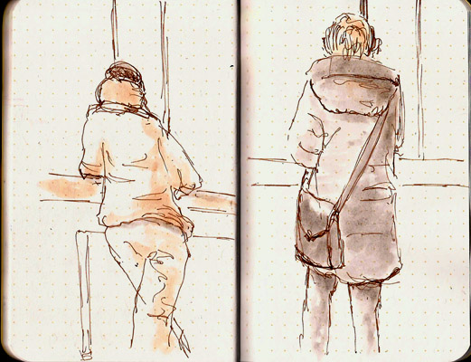 All sketches done in a Field Notes notebook using a Pilot Prera and De Atramentis Document Brown ink