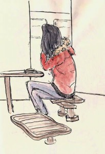 Of course we do quick sketches as we cross on the ferry. Here's one example - A Girl On a Boat (alias A Girl On a Phone).