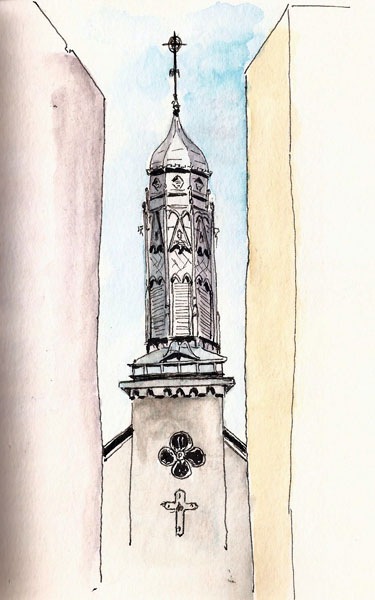 Here's mine. The steeple is seen between two buildings and Karen's simple depiction of this is far superior to my own. Stillman & Birn Beta (6x9)